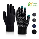 S.Y. Winter Knit Gloves Men Women Unisex Touch Screen Anti-Slip Elastic Cuff Warm Material for...