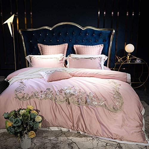 New 7Pcs Egyptian Cotton Bedding Set Queen King Size Bed Set Embroidery Duvet Cover Bed Sheet Set (Pink,King Size 6Pcs)