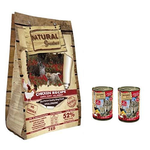 NATURAL GREATNESS - Pienso de Pollo para Perros Cachorros Hipoalergénico Sin Cereales - Saco 2 kg + 2 Latas Reno y Arenque con Yogurt   ANIMALUJOS