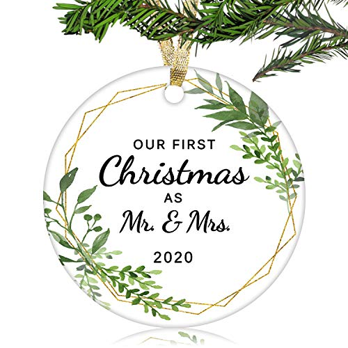 NURIONSS Our First Christmas as Mr & Mrs Ornaments 2020 - Christmas Wedding Decoration Gift for Couple Married Newlyweds - 3' Ceramic Ornament(Mr & Mrs 2)