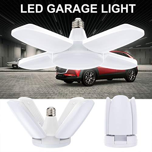 Garagenleuchte, Vintoney LED Garagenleuchten Arbeitslampe Arbeitslicht Weiß 60W 6500K 6000Lm Deckenleuchte mit 4 Verstellbaren Paneelen für Keller, Werkstatt, Garagen usw. [Energieklasse A++]