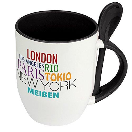 Städtetasse Meißen - Löffel-Tasse mit Motiv Famous Cities in the World - Becher, Kaffeetasse, Kaffeebecher, Mug - Schwarz