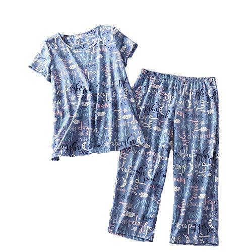 Women's Pajama Set - Cotton-Blend Short-Sleeve Loose Top with Matching Capri Bottoms SY215-Good Night-XL
