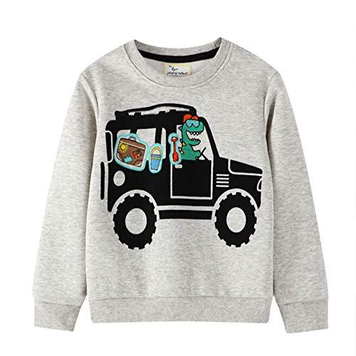Little Hand Jungen Pullover Kinder Sweatshirt Dinosaur Jumper Sweater Baumwolle Langarm T Shirts 92 98 104 110 116 122 (104, Sweatshirt Grau)