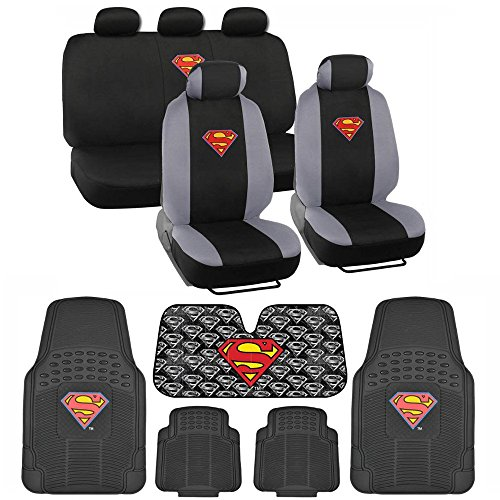 BDK Superman Front & Rear Car Seat Covers, Rubber Floor Mats and Sunshade Gift Set - Warner Brothers 14 Piece Official Licensed Auto Accessories Bundle (C1604)