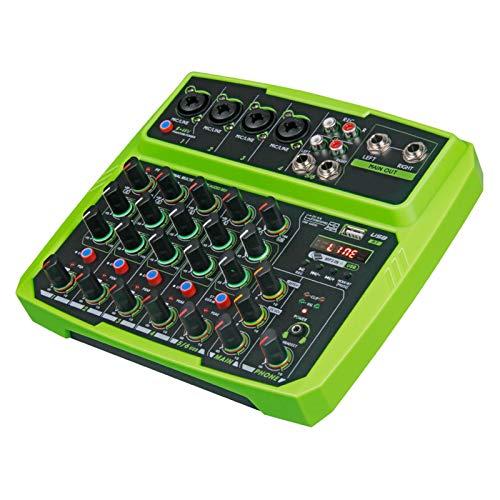 SUOTENG Grabación de consola de mezcla de sonido, mini mezclador de audio de 4/6 canales con tarjeta de sonido, USB, 48 V Phantom Power para grabación de PC, partido de webcast (color: verde 6)