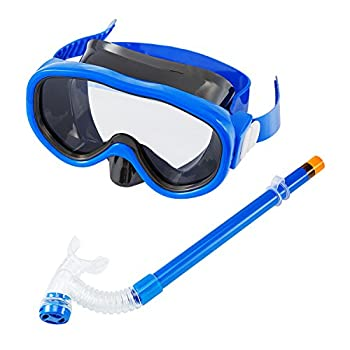 Kids/Children Snorkel Set Swimming Goggles Semi-Dry Snorkel Equipment for Boys and Girls Junior Snorkeling Gear Age 5 Plus  Blue
