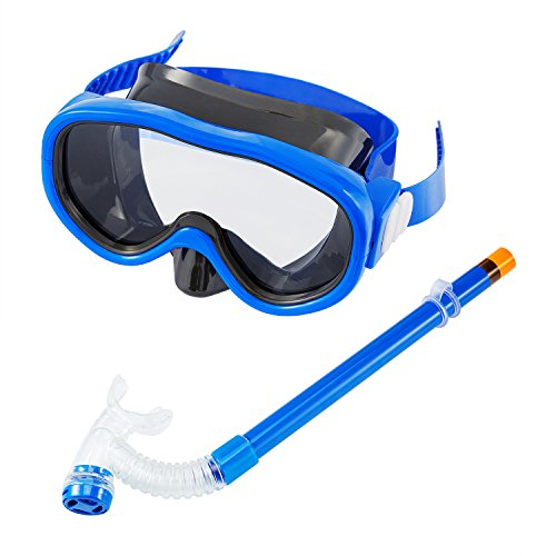Kids/Children Snorkel Set Swimming Goggles SemiDry Snorkel Equipment for Boys and Girls Junior Snorkeling Gear Age 5 Plus Blue