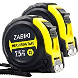 Zabiki Measuring Tape Measure, 25 Ft Easy to Read Decimal Retractable Dual Side Ruler with Metric and Inches, with Magnetic Tip and Rubber Protective Casing, 2 Pack
