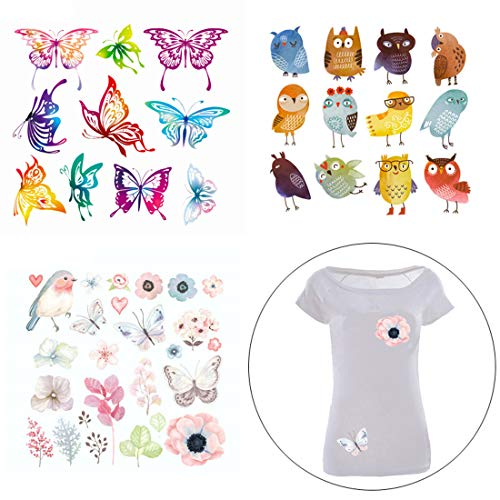FineInno 3 Pack DIY Iron-on Transfers Flower Patches Appliques Vinyl Washable Sticker Decals Heat Thermal Transfers Printed Decor Accessories Kit for T-Shirt, Jeans, Bags, Hat (Owl, butterfly, flower)