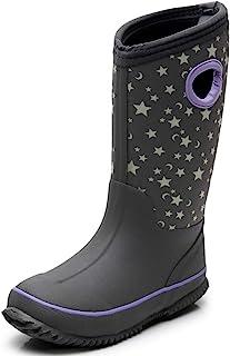 SOLARRAIN Girls' Neoprene Rubber Waterproof Rain Boots for Kids Non Slip Mud Boots Winter Warm Outdoor Durable Snow Boots