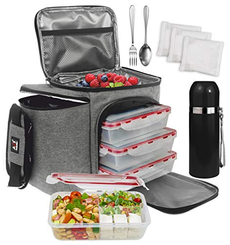 A2S Complete Meal Prep Lunch Box  8 Pcs Set: Cooler Bag 3x Portion Control Bento Lunch Containers Leakproof 3 Compartments Microwavable BPA Free  Fork amp Spoon  Thermos  3x Ice Gel Gray 8 Pcs Set