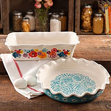 The Pioneer Woman Oven Safe 9 Ruffle Top Pie Plate and 2.3-Quart Ruffle Top Bakeware (1)