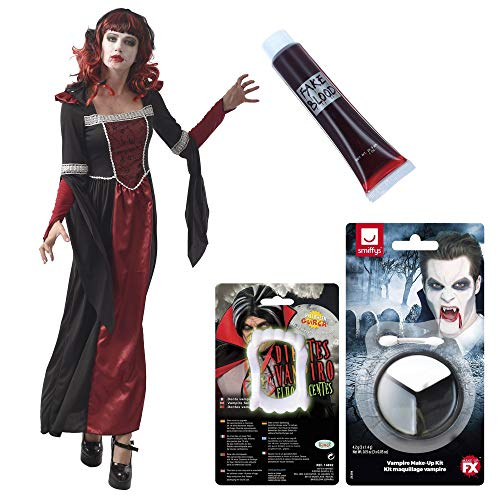 Pack De Disfraz De Vampiresa para Mujer con Maquillaje, Sangre Y Dientes De Vampiro Fluorescentes (M)