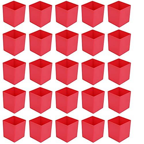 25 Stück Kunststoff-Einsatzkasten E 63/1, Lagerbehälter, rot 54x54x63 mm (LxBxH), aus PS, Industriequalität