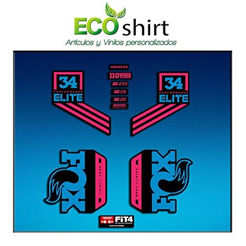 Ecoshirt CJ-AUW9-QDSN Stickers Fork Fox 34 Performance Elite 2017 Am79 Autocollants Stickers Fourche Gabel Bleu Rose