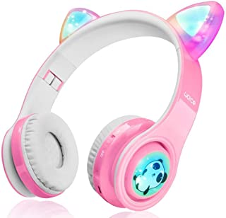 WOICE Girls Wireless Headphones, LED Flashing Lights, Music Sharing Function, Stereo Sound, SD Card Slot and Build-in Mic ...