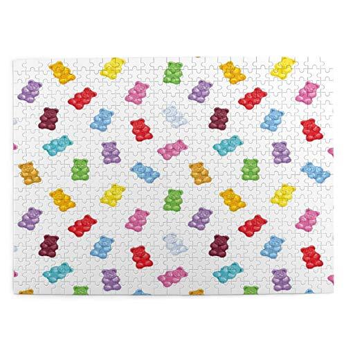 500 piezas puzzles para niños 52*38 cm madera Colorido Gummy Bears Caramelos Diseño Juguete Regalo para Chica Niño Niños Adulto
