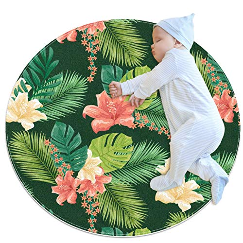 HDFGD Alfombra de cocina lavable entrada alfombra escritorio alfombra baño acento alfombra,Tropical-Pattern