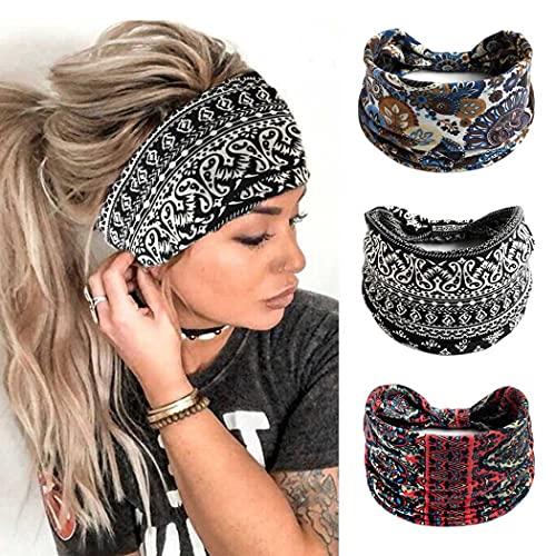 Zoestar Boho, diademas anchas, color negro, vintage, con flores, turbante anudado, bufandas, elegantes envolturas elásticas para la cabeza para mujeres y niñas (paquete de 3)
