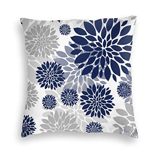 Navy Blue Gray Flower Velvet Soft Cushion Covers Square Throw Pillowcases for Sofa Bedroom Car with Invisible Zipper 18x18 Inch