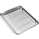 Baking Sheet with Rack Set, Umite Chef Stainless Steel 16 x 12 x 1 Inch Cookie Sheet Baking Pans with Cooling Rack, Cookie Pan with Rack Non Toxic & Healthy, Easy Clean & Heavy Duty, Dishwasher Safe