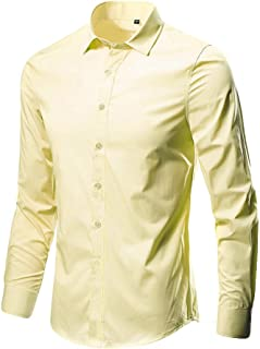 WILLTOO❤️❤️ Most Popular Business Men's Blouse, Leisure Lapel Pure Color Long-Sleeved Shirt Tops