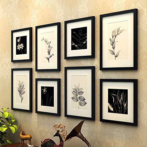 YKDDII fotolijsten eenvoudige rechthoek groen blad patroon muur opknoping fotolijst Set 8 stks Houten fotolijsten Studie Woonkamer fotolijst pak Klassieke Mode Multifunctionele fotolijst