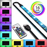 SPE USB Bias Lighting with RF Remote Control for HDTV - Small (39in / 1m) - Multi-Color RGB - USB LED Backlight Strip with Dimmer for Flat Screen TV LCD, Desktop Monitors, Kitchen Cabinets