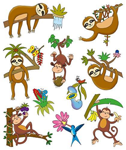 AVERY Zweckform 54993 Fensterbilder Dschungel 10 Stück (bunte selbstklebende Fensteraufkleber für Kinder, glänzend, wasserfest, ablösbare Fensterfolie, Fenstersticker und Deko für Fenster und Spiegel)