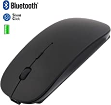 JUQITECH Bluetooth Mouse Rechargeable Wireless Mouse, Quiet Ultra-Slim Optical BT 4.0 Mice Charging Mobile Mouse for Notebook Laptop PC Computer MacBook Laptop, iOS 13 Windows Android Mac OS (Black)