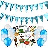Sayala Oktoberfest decoración prados bávaros Wiesn decoración,Oktoberfest Photo Booth Props, Azul y Blanco Globos,Oktoberfest Banner Decoraciones para el Festival de la Cerveza