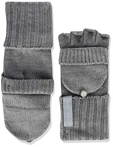 Calvin Klein Women's Knitted Convertible Fingerless Gloves with Mitten Flap Cover, heather mid Grey, One Size