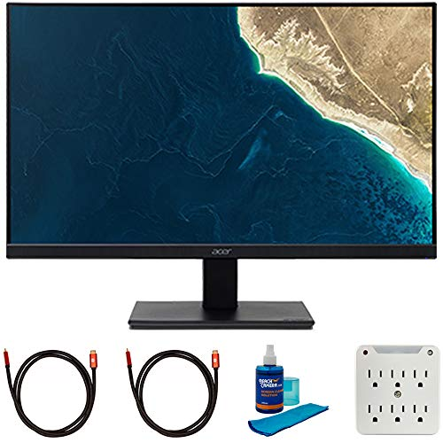 Acer UM.WV7AA.A01 V227Q Abmix 22 inch Full HD 1920x1080p 16:9 VA Monitor Bundle with Bundle with 2X 6FT Universal 4K HDMI 2.0 Cable, Universal Screen Cleaner and 6-Outlet Surge Adapter