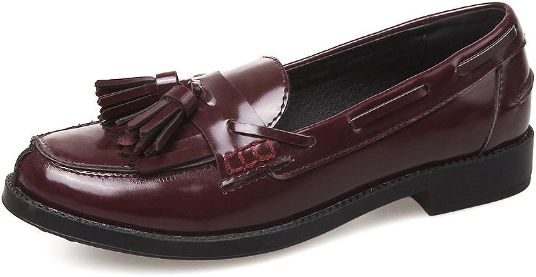 PP Fashion Women's Slip On Leather Tassels Flat Loafers
