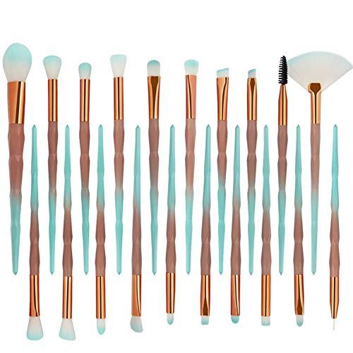 FYN Maquillage Brush Set 20 Pcs Diamant Poignée Femelle Professionnel Maquillage Outils De Fondation Brosse À Oeil Ombre Brosse Sourcils Brosse Lâche Pinceau Pinceau De Mélange,Greencoffee