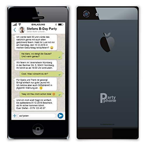 30 x Geburtstag Einladungskarten individuell mit Ihrem Foto und Text DIN Lang 210 x 98 mm mit abgerundeten Ecken - Messenger Chat