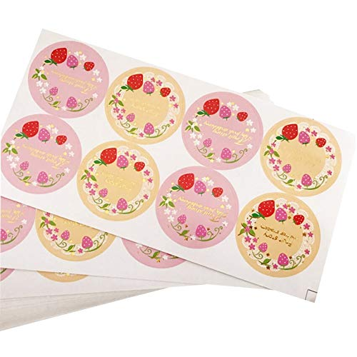 800pcs/lot Cute Fresh Fruit Strawberry Garland Kraft Paper Sticker Handmade Seal Sticker Baking Gift Seal Labels