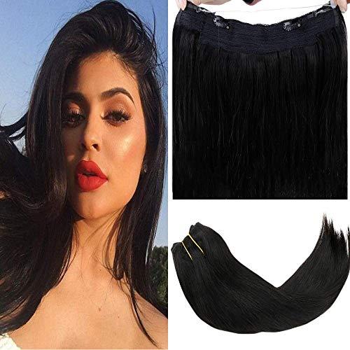LaaVoo 14Pouce Brazilian Secret Halo Hair Lissage Naturel Noir Halo on Cheveux Tissage Pas Cher 100% Humain Cheveux avec Enfiler 80g Total