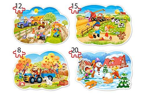 Castorland B-043019 - Four Seasons, 4 x Puzzle 8+12+15+20 Teile