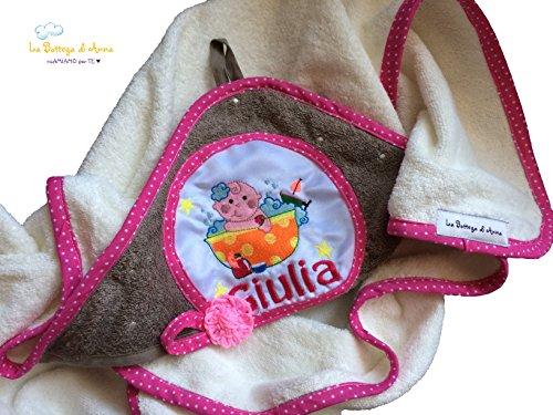 Badjas voor meisjes, van badstof, wit en taupe, met borduurwerk en personalisering van de naam – afmetingen: 75 x 75 cm (ca.).