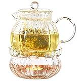 IwaiLoft 癒し 耐熱ガラス ティーポット 茶こし付き ガラス 急須 保温 キャンドルウォーマー ティーウォーマン セット ティーフォーツー ガラス製ポット 紅茶 フルーツティー リーフティー 花茶 工芸茶 ハーフティー に 直火可 IL-SET1925 (筋入ティーポットと筋入ティーウォーマー2点セット, 800ml)