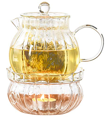 IwaiLoft 癒し 耐熱ガラス ティーポット 茶こし付き ガラス 急須 保温 キャンドルウォーマー ティーウォーマン セット ティーフォーツー ガラス製ポット 紅茶 フルーツティー リーフティー 花茶 工芸茶 ハーフティー に 直火可 IL-SET19