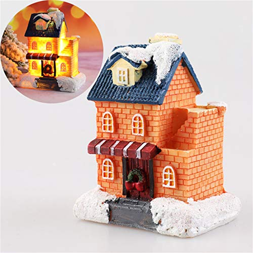 jieGorge Christmas Lights Resin Miniature House Furniture LED House Decorate Creative, Home Decor, for Christmas Day (K)