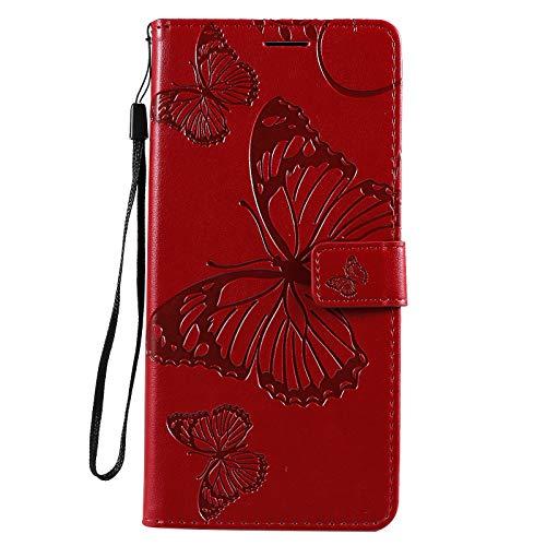 Hülle für Xiaomi PocoX3 NFC Hülle Leder,[Kartenfach & Standfunktion] Flip Case Lederhülle Schutzhülle für Xiaomi PocoX3 NFC - EYKT043130 Rot