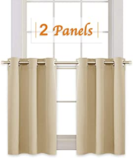RYB HOME Thermal Insulated Tiers Short Curtains for Living Room, Plain Ring Top Small Window Treatment Panels for Office/Kitchen, 42 in Wide by 36 in Long, Biscotti Beige, 2 Pieces