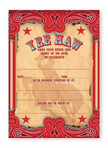 POP parties Cowboy Party Large Invitations - 10 Invitations + 10 Envelopes