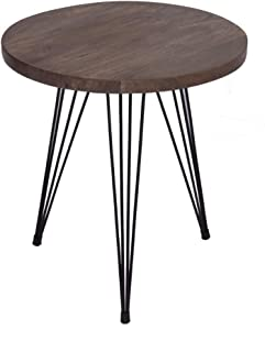 The Urban Port 98000 Industrial Round Top End Table with Metal Wire Style Legs, Brown and Black
