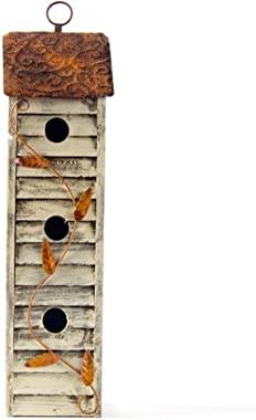 "Glitzhome Wooden Three-Tier Hanging Distressed Garden Bird Houses for Outside 17.95"" H"