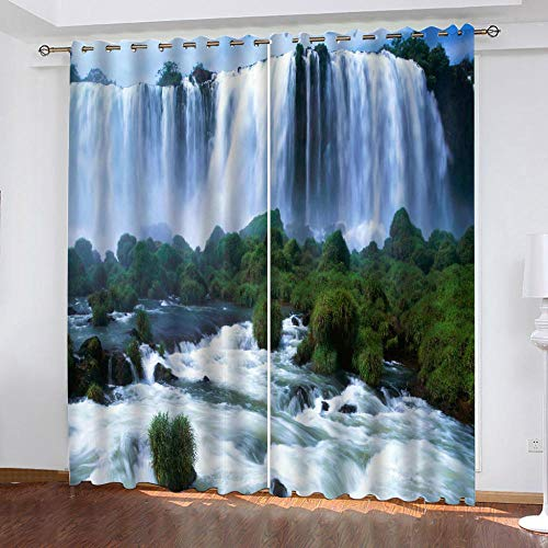 LOVEXOO Thermal Blackout Curtains Eyelet Fabric Waterfall landscape 28.54'x96.46' Window Treatment Solid - Privacy Protected Panel for Bedroom Living Room Home Decoration Set of 2,